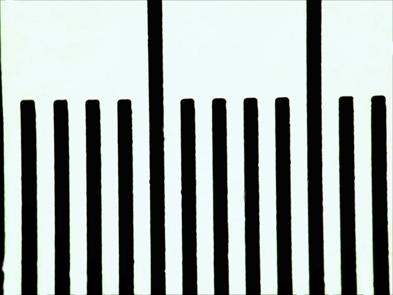 Вид шкалы микрометра при увеличении 100х