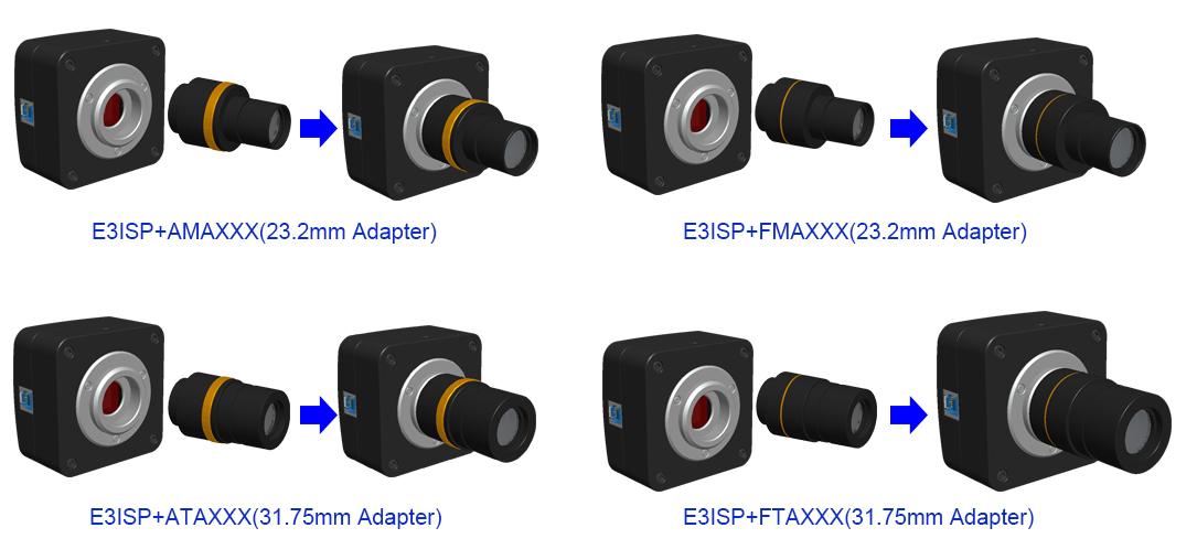 Варианты комплектации адаптеров для камеры серии E3ISPM
