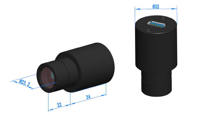 Окулярная цифровая камера для микроскопов ToupCam S3CMOS габаритные размеры