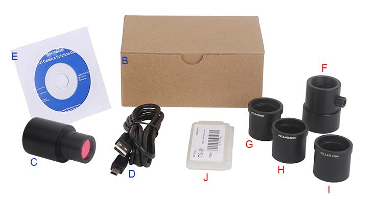 Все варианты комплектации видеоокулярной камеры ToupCam S3CMOS05000KPA.