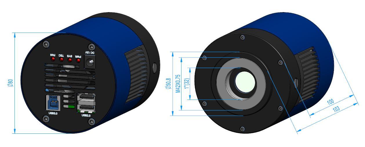 Размеры камеры серии MTR3CMOS