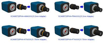 Варианты комплектации камеры ToupCam XCAM0720PHA дополнительными адаптерами